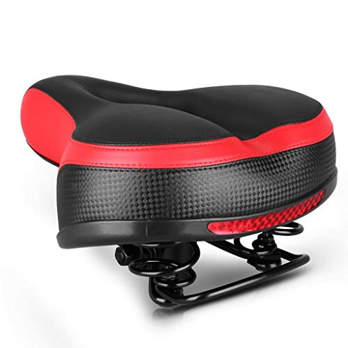 SQATDS Ciclo de Bicicletas Dual-Primavera Amplio Gel Amplio Asiento Acolchado Supporty Soft Pad Transpirable Ventilado Sillín Hollow For Mountain Road Bike Asiento de Bicicleta (Color : Rojo)