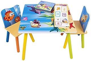 WOLTU 1 Table d'enfant + 2 chaises Motif imprimé océan pour Enfants d'âge préscolaire, SG003