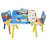 WOLTU 3 uds. Grupo de Asientos para Niños Mesa y 2 Sillas en Edad Preescolar Muebles para Niños Juego de Mesas para Niños Impresas en Océano SG003