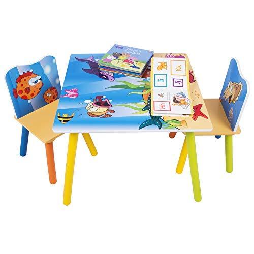 WOLTU SG003 Set Mobili Tavolo e Sedie per Bambini Gioco Tavolino con 2 Sgabelli Soggiorno Design Oceano in Legno