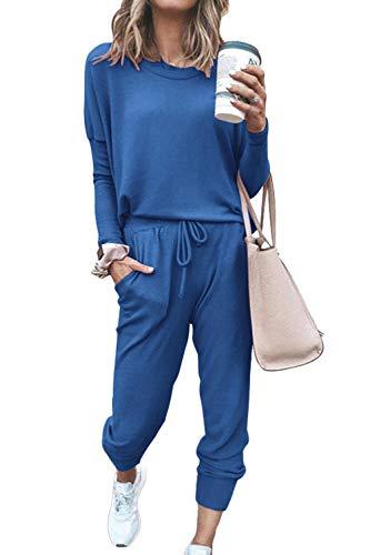 Women's 2 Piece Loungewear Set Tracksuits Long Sleeve Top & Jogger Pants Blue L