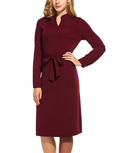 Beyove Damen Business Kleid Langarm Knielang mit Gürtel Elegantes Strickkleid Etuikleid V Ausschnitt Jerseykleid Business Blusenkleid Casual...