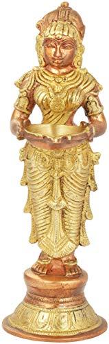 Exotic India Deeplakshmi - Brass Sculpture - Color Copper Gold Color