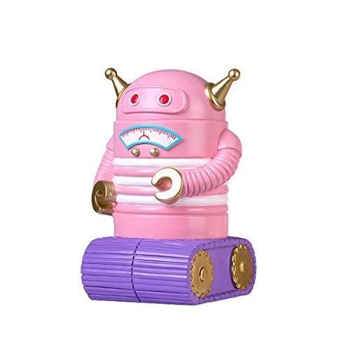 Contador digital de hucha, hucha de dinero de resina creativa de moneda en forma de robot en forma de mejor juguete regalo para niños decoración del hogar, huchas rosa (color: rosa)