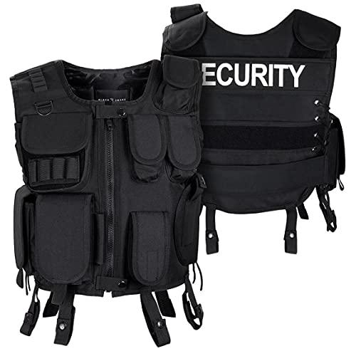 Black Snake® Security Einsatzweste Taktische Weste schwarz Paintball Softair Gotscha Brustschutz - M/L - Security