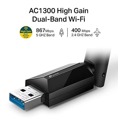 TP-Link Archer T3U Plus AC1300 High Gain Dualband USB Stick WLAN-Adapter mit High-Gain Antennen (bis zu 867 Mbit/s auf 5GHz und 400 Mbit/s auf 2,4GHz, Kompatibel mit Windows 10/8.1/8/7 und Mac OS X)
