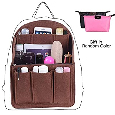 Felt Backpack Organizer Insert, Round Top Purse Organizer, Backpack Purse And Travel Backpack For WomenMen Travel Backpack For Women Backpack For Mummy Coach MCM LV JanSport Anello etc, Coffee Small by
