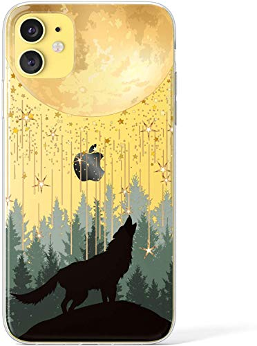 SUBESKING iPhone 11 Case Wolf,Cute Moon Stars Forest Wolf Pattern Crystal Clear Soft TPU Design Fashion Cool Luxury Slim Fit Shockproof Protective Phone Cover Cases for Women Girls(Black Gold)