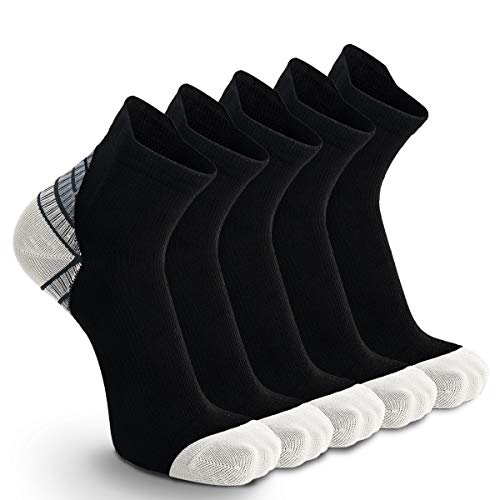 5 Paar Kompressionssocken Sportsocken Laufsocken für Herren & Damen Münner Leichtgewicht Kompressionsstrümpfe Funktionssocken Sneaker Socken (43-46, Grau - 5 Paar)