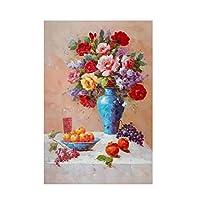 帆布に油絵、静物テーブルにフラワーアート風の壁画、居間、玄関、寝室、書斎のモダンな装飾画、フレームレス(60X90cm)