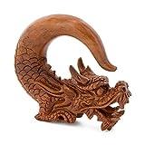 Elementals Organics Saba Wood Ear Hangers – Ancient Protector Dragon Chinese Wood Earring 1 PC, 8mm, 0g