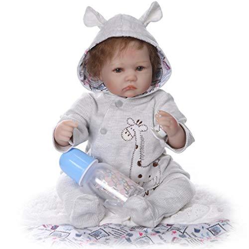 SXFJF Muñeca de bebé renacido de 55 cm, muñeca de bebé realista, vinilo de tacto real, regalo de cumpleaños, Navidad, caja de regalo, con síndrome de Down y extremidades móviles, color gris