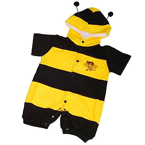 Lito Angels Disfraz de Abeja para Bebé Niñas Body Mono Mamelucos Onesie Vestido de Fiesta Verano Cumpleaños con Capucha Talla 6-12 Meses
