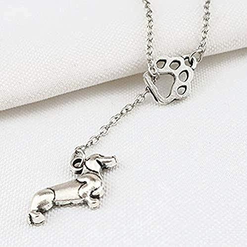WYDSFWL Collar Vintage Sweet Animal Pot Huellas de Mascotas Collares Pendientes Fabricación Metal Dog Cat Link Gargantilla Wen Souvenir Gift Jewelry Gift