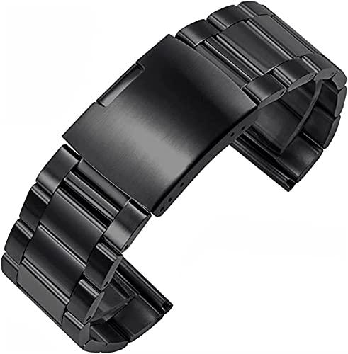 FFAN Correa de Reloj, Citizen Large Men's Watch Chain Correa de Acero Inoxidable Reemplazo de la Correa de Metal 24 26 28mm Brazalete de Plata Negra (Color: 26mm, Size: Black) Decoration