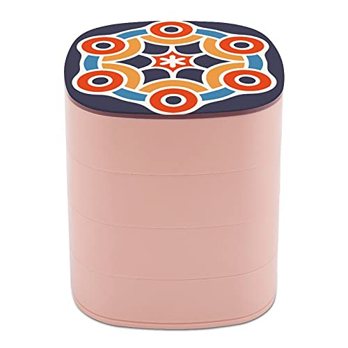 Rotar la caja de joyería con decoración clásica aborigen Cultura Artística casos de joyería con espejo, estuches de joyería a granel, soporte de joyería de diseño multicapa para mujeres, niñas y niños