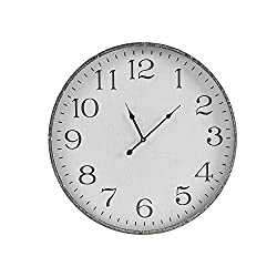 MARTHA STEWART Galvanized Iron Metal Wall Clock 24 Inch for Living Room Décor Office Decoration Quartz Battery Operated Easy to Read, 24 x 24, Duke White/Silver