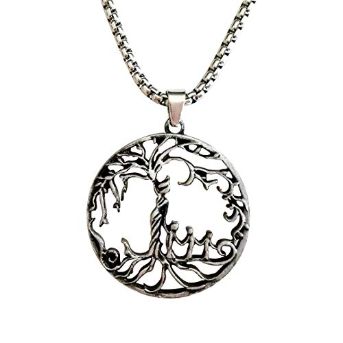 Holyheart Pewter Viking Necklace Norse Amulet Pendant Necklace Celtic Pagan Jewelry Viking Gift Jewelry (Treelife08)