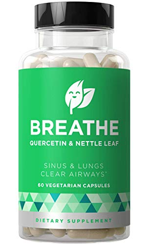 Breathe Sinus & Lungs Breathing - Seasonal Nasal Health, Open and Clear Airways, Bronchial Wellness, Healthy Chest - Quercetin, Nettle Leaf, Bromelain Pills - 60 Vegetarian Soft Capsules