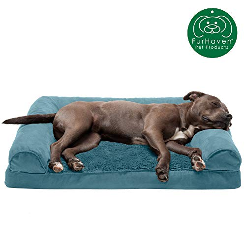 Furhaven Pet Dog Bed - Orthopedic Ultra Plush Faux Fur & Suede Traditional Sofa-Style Living Room Couch Pet Bed w/ Removable Cover for Dogs & Cats, Deep Pool, Large