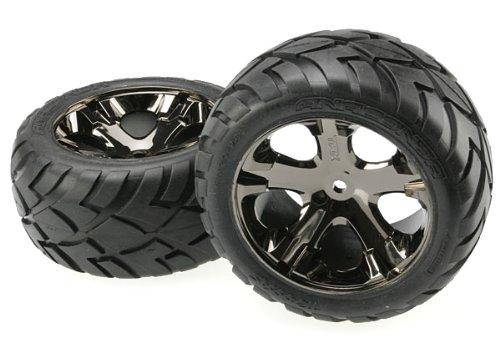 Traxxas 3773A Anaconda Tires Pre-Glued on All Star black chrome wheels (pair)