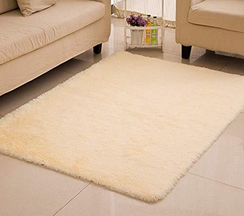CNFQ Shaggy alfombras de Pelo Largo alfombras Salon alfombras de habitacion moquetas Sala de Estar (Beige, 100 x 200 cm)