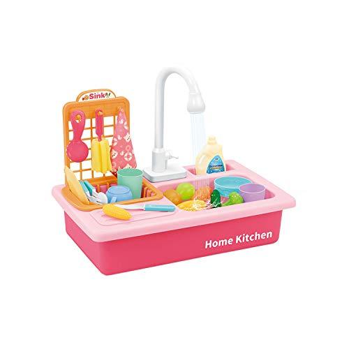 Küchenspielzeug Küchenset, Spüle Spülbecken, elektrisch emulierter Kinder Geschirrspüler Spülmaschine mit automatischem Wasserkreislauf-System für Rollenspiel bei Kindern ab 2 Jahren (Pink)