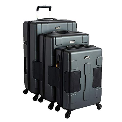 TACH TUFF 3-Piece Hardcase Connectable Luggage & Carryon Travel Bag Set | Rolling Suitcase with Patented Built-In Connecting System | Easily Link & Carry 9 Bags At Once | TSA-Approved Lock (grey)