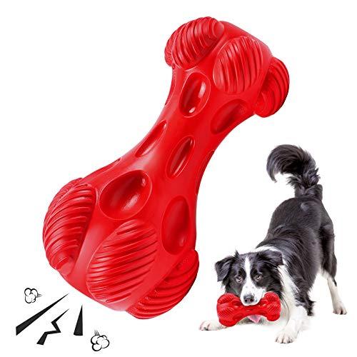G.C Kauspielzeug Hund, Hundespielzeug unzerstörbar quitschend Kauknochen Hund Robust Naturkautschuk Zahnreinigung Hund Spielzeug für Große und Mittelgroße Hunde