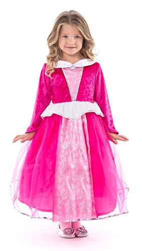 Little Adventures Deluxe Sleeping Beauty Hot Pink Princess Dress Up Costume (Medium Age 3-5)