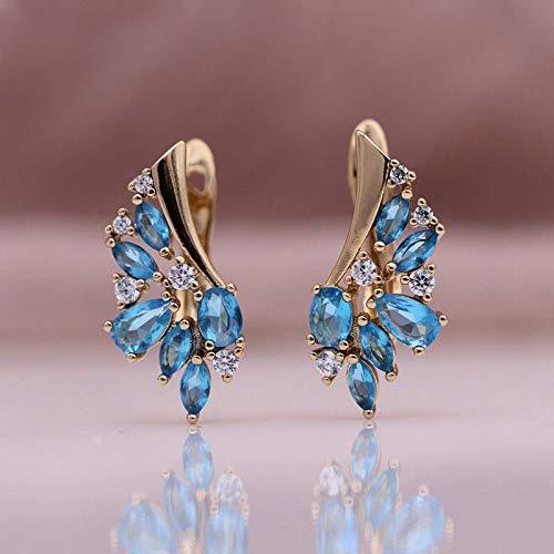 CHQSMZ Pendientes nuevos Pendientes Colgantes de circonita Natural Azul Marino 585 Oro Rosa Ojo de Caballo Pendientes de Mujer Gota de Agua joyería de Moda de Boda
