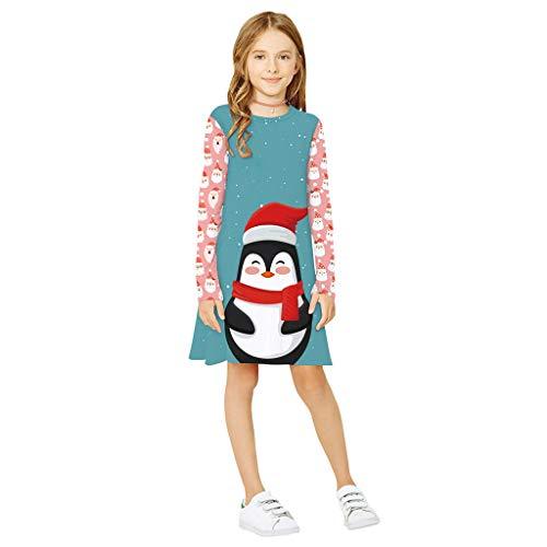 JKstore - Abiti natalizi per ragazze con pinguino, albero di Natale, motivo a forma di orso, a maniche lunghe, casual, da 5 a 10 anni A S