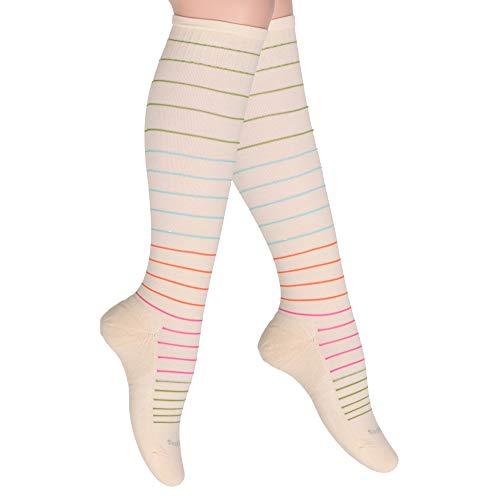 Cotton Compression Socks for Women. Ladies Support Stockings for Nurses, Travel, Flight, Pregnancy, Maternity, Varicose Veins, DVT, Athletics, Running, Sports. 15-20 mmHg Medical Sox. Knee High