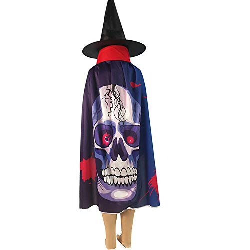 Auspicious Beginning 2 Stück Halloween Kostüme, Umhang und Hexenhut Pate Zauberer mittelalterliche Robe für Halloween Weihnachten Cosplay Kostüm Rollenspiel Party