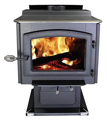 Ashley Hearth AW3200E-P 3,200 Sq. Ft. EPA Certified Pedestal Wood Burning Stove with Blower, Black