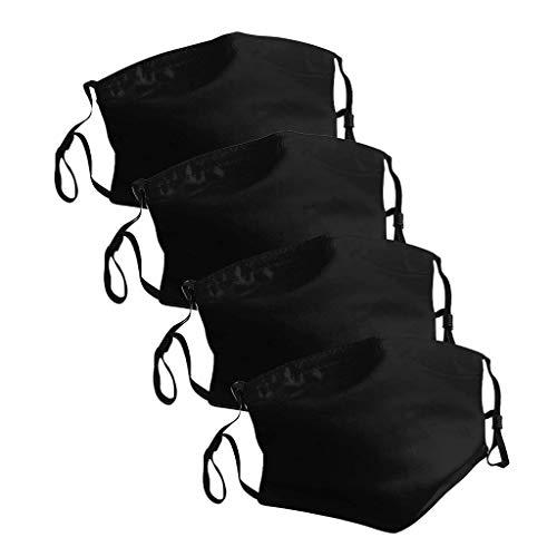 Reutilizable y Lavable de Esponja Antipolvo para Deportes al Aire Libre, con Banda Elástico para Los Oídos, Pack 4 Unidades Negra