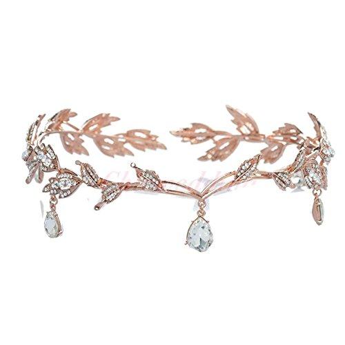 Wiipu Elegant Rhinestone Leaf Wedding Headpiece Headband Bridal Tiara Crown(B630) (rose golden)