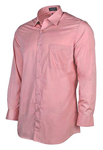 Marquis 009SL Men's Long Sleeve Slim Fit Solid Dress Shirt - Dusty Rose -…