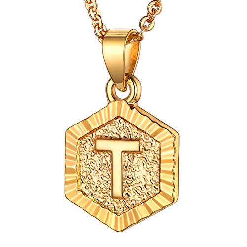 U7 Colar com inicial para mulheres, banhado a ouro 18 quilates, corrente de cabo de rolo, simples, fofo, com pingente de letra hexagonal, gargantilha inicial A-Z para adolescentes presente de formatura Small Dourado