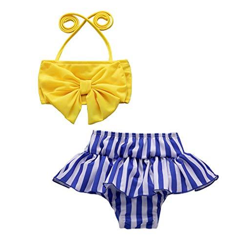 Allence 2pcs Infant Kinder Baby Mädchen Bademode Streifen Straps Badeanzug Bade Bikini Set Outfits Bikini Neckholder Tankini Set Schwimmanzug Badeanzug Bademode