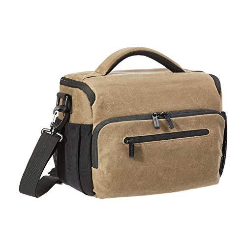 AmazonBasics – Bolsa bandolera para cámaras, vintage, tela encerada, marrón