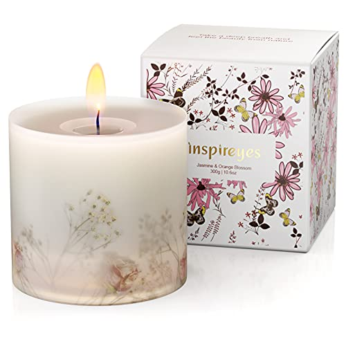 Vela perfumada Inspireyes, Limón y Mandarina, Velas con Fragancia Natural para el Alivio del estrés y la aromaterapia, 10.6 Oz