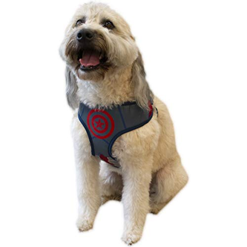 Marvel Comics for Dogs Captain America Dog Harness, Medium | Best Avengers Infinity War Harness For All Medium Size Dogs, Model: FF9911