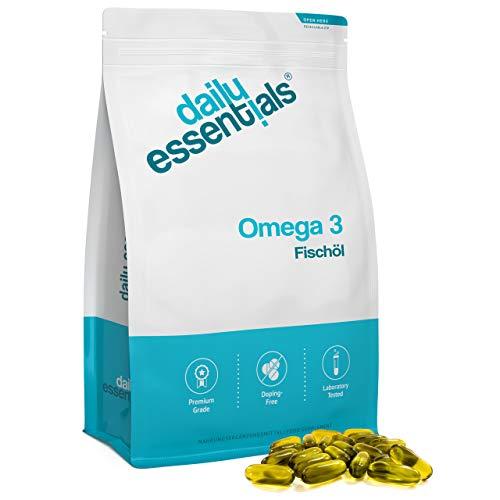 Omega 3 Fischöl Kapseln - 500 Kapseln - Hochdosiert mit 1000 mg Fischöl je Softgel und den Omega 3 Fettsäuren EPA + DHA – aus nachhaltigem Fischfang - Laborgeprüft und hergestellt in Deutschland