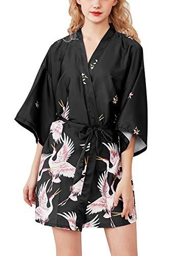 YAOMEI Mujer Vestido Kimono Satén, Camisón para Mujer,