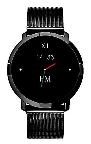 Smartwatch da regalo FLORENCE MARLEN FM1R | Disegnato In Italia | 2 CINTURINI | Uomo-Donna Maglia Milanese Porto Cervo Nera |Water-Resistant|Cardiofrequenzimetro,Contapassi,Notifiche|IOS&Android
