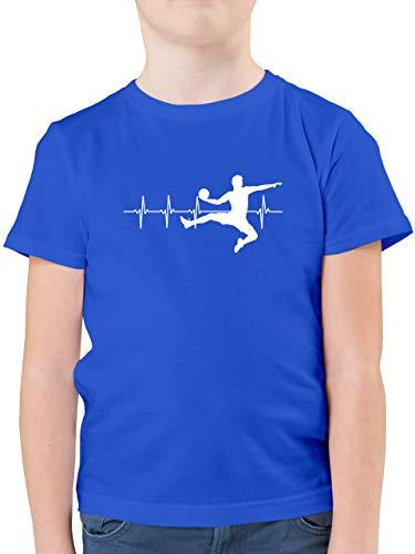 Sport Kind - Handball Herzschlag für Herren - 116 (5/6 Jahre) - Royalblau - Handball Shirt 152 - F130K - Kinder Tshirts und T-Shirt für Jungen