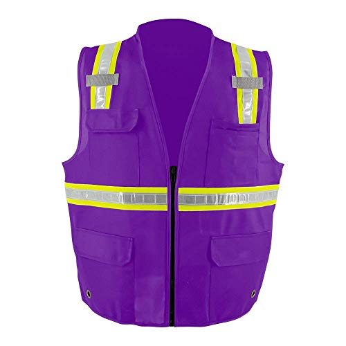 LOVPOSNTY PVC High Visibility Reflective Safety Vest, 5 Pockets With Zipper ANSI Class 2 Heavy Duty Construction Workwear for Men & Women (Purple,M)