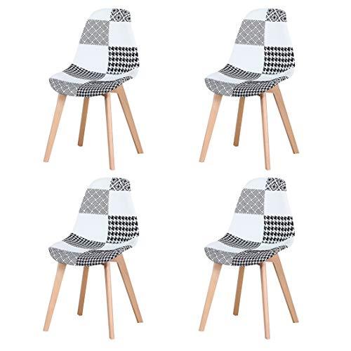 N/A Juego de 4 sillas de comedor, tapizado patchwork retro, comedor, cocina, dormitorio, silla de oficina (negro)