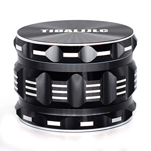 TIDALJJLC Best Herb Grinder 2.5 Inch Large 4 Piece Set with Pollen Catcher,Black Aluminium(Comes with a small brush)